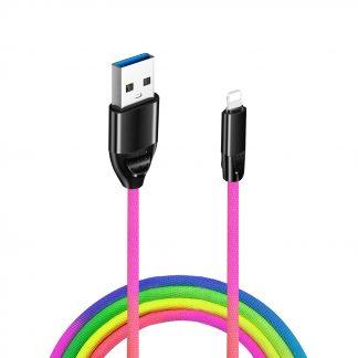 usb-a naar lightning data en oplaadkabel regenboog kleur - samsung oplaadkabel 3
